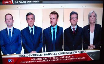 Benoît Hamon, François Fillon, Emmanuel Macron, Jean-Luc Mélenchon et Marine Le Pen, débat du premier tour présidentielle 2017, 20 mars 2017. Capture d'écran Jon Helland/LexTimes.