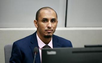 Al Hassan lors de sa première comparution devant la CPI, 4 avril 2018. Photo CPI.