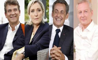 De g. à dr. Arnaud Montebourg, Marine Le Pen, Nicolas Sarkozy, Bruno Le Maire. Photomontage.