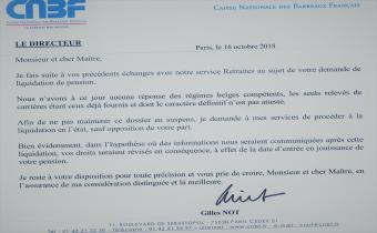 Lettre de la CNBF à un polypensionné, 16 oct. 2016.