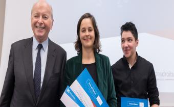 De g. à dr., Jacques Toubon, Sabrina Delattre et Emmanuel Beaubatie, 5 déc. 2018. Photo Jacques Witt.