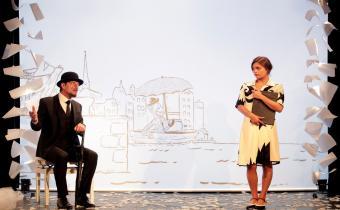 Je m'appelle Erik Satie comme tout le monde, au théâtre de la Contrescarpte. Photo Fabinne Rappeneau.