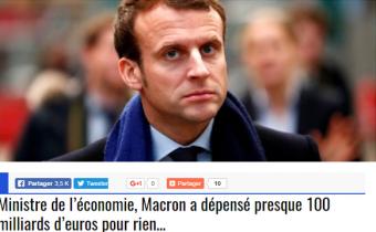 Exemple de fake news sur Emmanuel Macron ayant circulé sur Facebook. Capture d'écran.