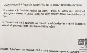 Validation par le barreau de Paris des échanges confidentiels entre avocats par messagerie non sécurisée. Avis strictement confidentiel rendu le 29 août 2017. Document exclusif LexTimes.