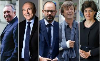 De g. à d. François Bayrou, Gérard Collomb, Nicolas Hulot et Sylvie Goulard. Photomontage.