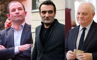 De g. à dr., Benoît Hamon, François Asselineau et Florian Philippot. Photomontage.