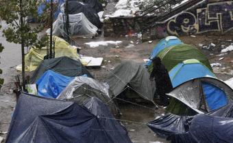 Nouveau campement à la Villette, à Paris, dans le 19e arrondissement.