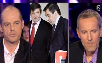 De g. à dr., Fabrice Lhomme, Jean-Pierre Jouyet, François Fillon et Gérard Davet. Photomontage.