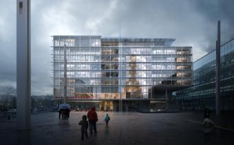 Maison de l'ordre des avocats, avenue de la Porte de Clichy, Paris 17e. Dessin projeté Renzo Piano Building Workshop.