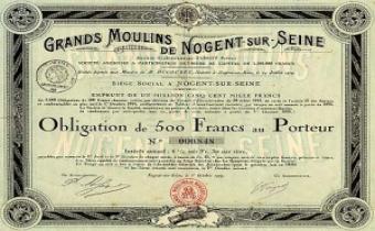 Une obligation de 500 francs des Grands Moulins de Nogent-sur-Marne.