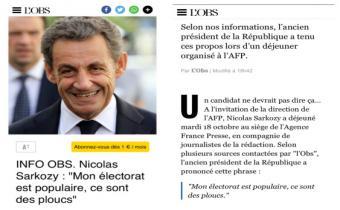 Mon électorat est populaire, ce sont des ploucs, Nicolas Sarkozy.