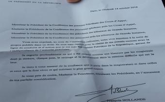 Lettre de François Hollande aux présidents et procureurs des tribunaux et cours d'appel, 14 oct. 2016.