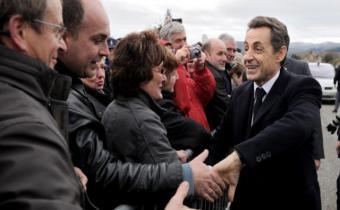Nicolas Sarkozy, Mayet-de-Montagne, 25 nov. 2010. Photo archives.