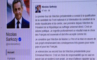 Appel de Nicolas Sarkozy sur Facebook à voter Emmanuel Macron, 26 avr. 2017.