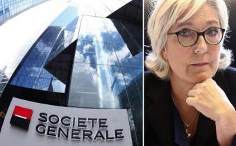 Société générale, Marie Le Pen. Photomontage.