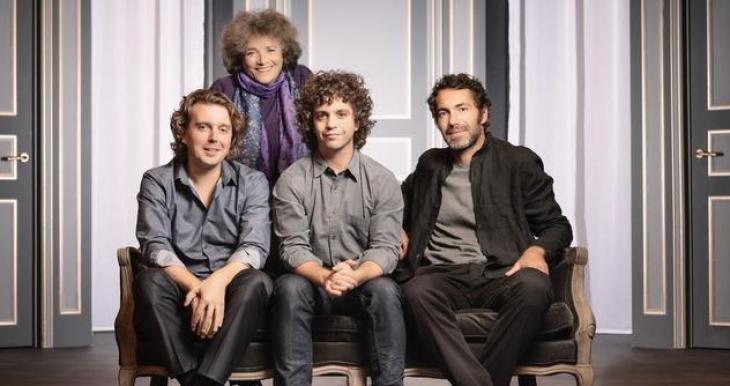 Trois hommes et un couffin, au théâtre du Gymnase. Photo Nicolas Auproux.