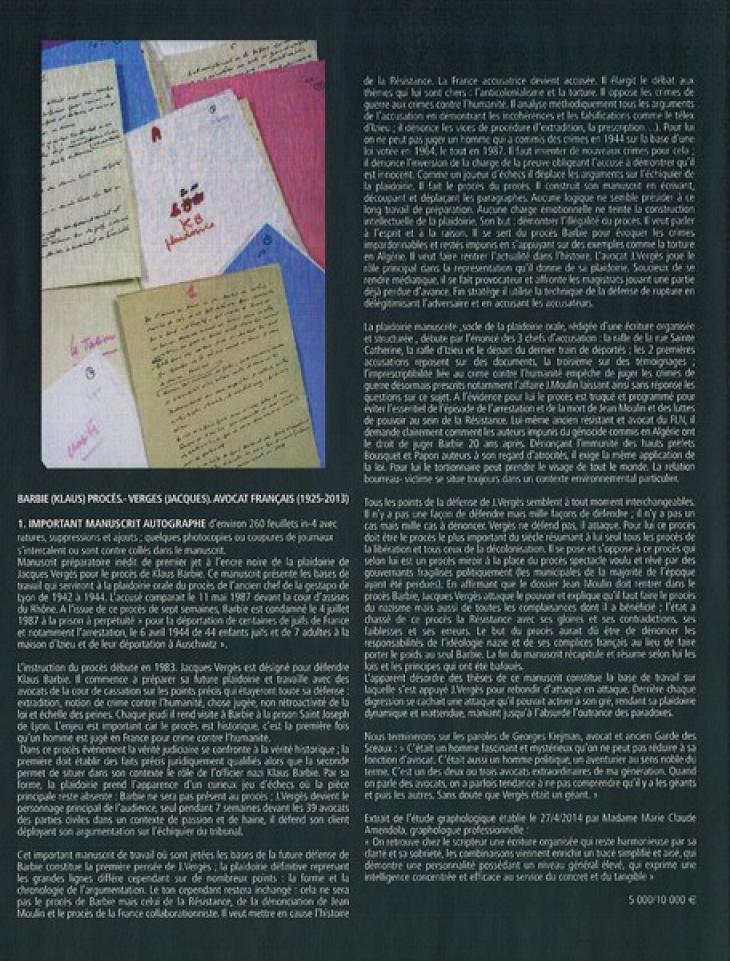 Catalogue Alain Castor - Laurent Hara, vente du 23 juin 2014, lot n° 1, Hôtel Drouot Richelieu, Paris.