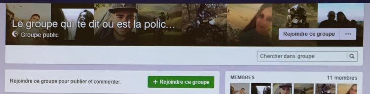 Le groupe qui te dit où est la police en Aveyron. Capture d'écran Facebook.
