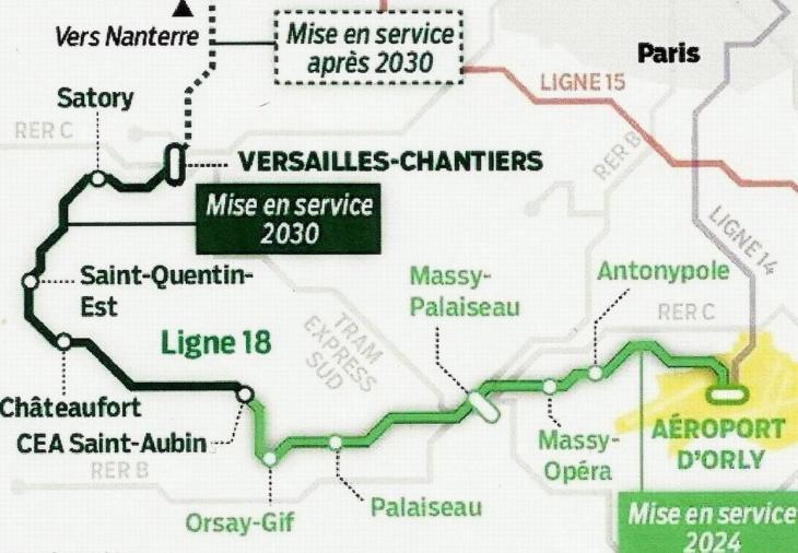 Ligne 18 reliant Aéroport d'Orly à Versailles-Chantiers