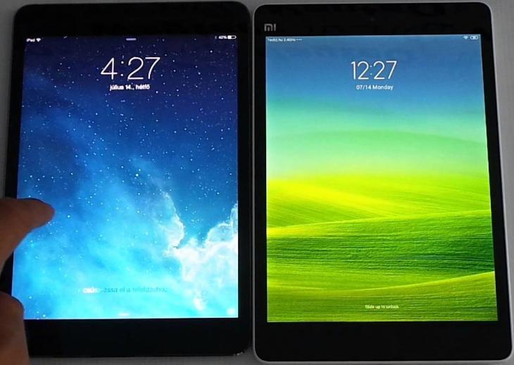 Le MiPad de Xiaomi et l'iPad d'Apple