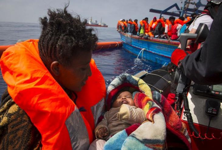 Personnes secourues au large de la Libye, avr. 2018. Photo Anthony Jean/SOS Méditerranée.