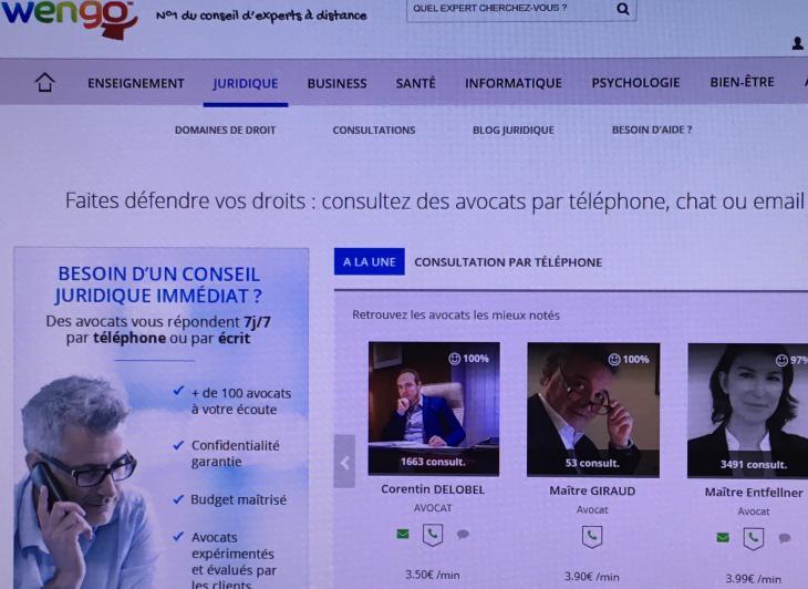 Les avis des internautes sur les avocats consultés sur Wengo. Capture d'écran.