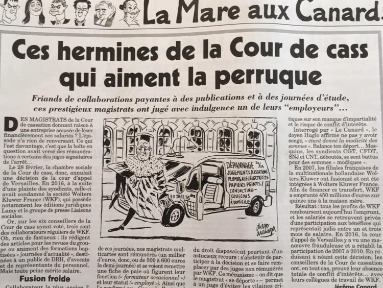 Ces hermines de la Cour de cass qui aiment la perruque, le Canard Enchaîné, 18 avr. 2018.
