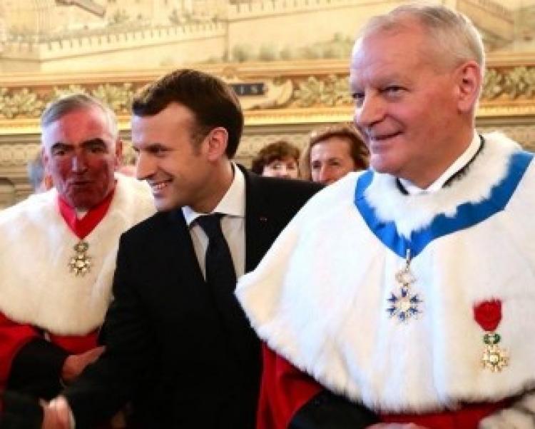 De g. à dr. Jean-Claude Marin, Emmanuel Macron et Bertrand Louvel, 15 janv. 2018.